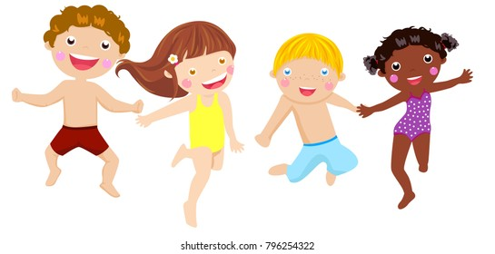 Group of happy children jumping