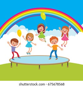 Group of happy children jumping on the trampoline outdoor areas stock cartoon vector illustration
