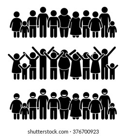 Group of Happy Children Standing Smiling and Raising Hands Stick Figure Pictogram Icons