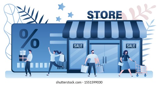 Group of happy consumers with shopping bags near store. Discount or loyalty card, loyalty program and customer service,gifts and rewards card points concept. Trendy style design. Vector illustration