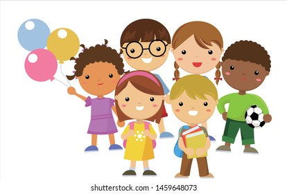 Group of happy cute children collection