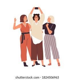 Group of happy female friends taking selfie use smartphone vector flat illustration. Smiling trendy woman photographing together having positive emotion isolated. People standing posing for photo