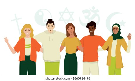 Group of happy friend of different religion. Islam, Judaism, Buddhism, Christianity, Hindu, Taoist. Religion diversity and Equal rights for everybody. Isolated vector illustration in cartoon style. - Shutterstock ID 1660914496