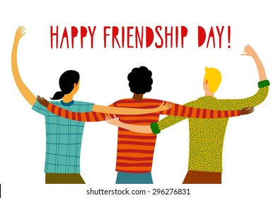 Group of happy friends enjoying Friendship Day. Cartoon hand drawn illustration for your design.