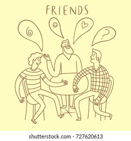 Group of happy friends sitting at the table and laughing. Cartoon hand drawn illustration for your design.
