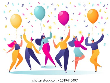 Group of happy, joyful people celebrating  holiday, event. Man and woman characters in holiday cap dancing, having fun and having toast with confetti and balloons on the background.People on the party