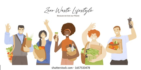 Group of happy joyful people holding zero waste ecological recycle and reduce products, waving hands, showing OK sign. Zero Waste Lifestyle concept with eco friendly multiracial people