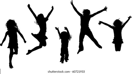 a group of happy jumping children