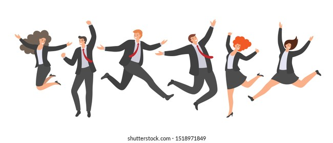 Group of happy jumping office workers in flat style isolated on white background. Cheerful working day. Business people are jumping, celebrating the achievement or victory.