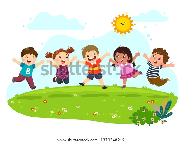 Group of happy kids jumping on summer meadow.