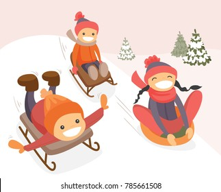 Group of happy laughing caucasian white boys and girl sliding down on rubber tubes and sledge in the winter park. Active cheerful kids enjoying a sleigh ride. Vector cartoon illustration.