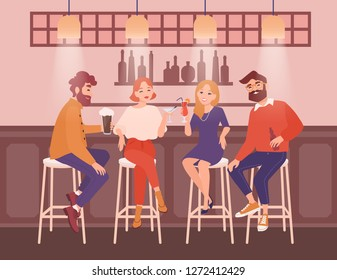 Group of happy men and women dressed in elegant clothing sitting at bar, talking and drinking alcoholic beverages. Friends having fun at pub together. Flat cartoon characters. Vector illustration.