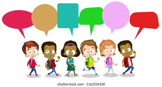 Group of happy multicultural children with speech bubbles. African and european pupils standing with backpacks. Childhood and kids friendship. Different ethnicity boys and girls vector personages