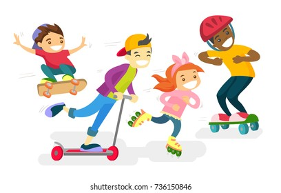 Group of happy multiethnic children playing outdoor. African-american, caucasian white and Asian boys and girl riding a skateboard, kick scooter and roller skates. Vector isolated cartoon illustration