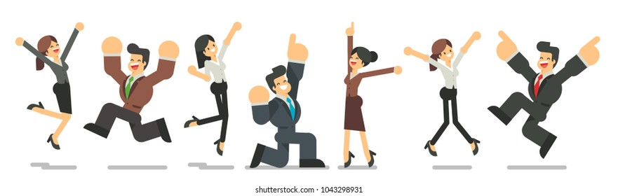 A group of happy office workers celebrating the victory. Successful business team. Business men and business women jumping with their hands up. Vector character design flat style.