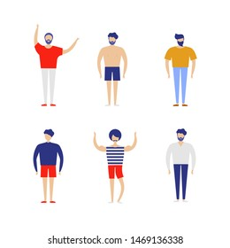 Group of happy people in casual clothes on a white background. Vector illustration in a flat style.