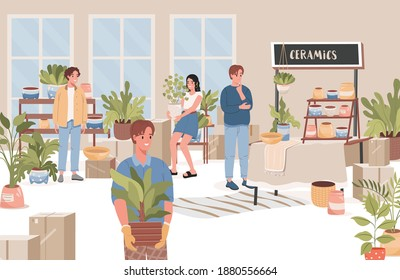 Group of happy people choosing and buying flowers, trees and flower pots in flower shop vector flat illustration. Men and women in plants shop interior. Plants and trees store design concept.