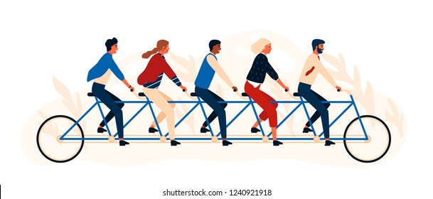 Group of happy people or friends riding tandem bicycle or quint. Young smiling men and women pedaling quintbike isolated on white background. Colorful vector illustration in flat cartoon style.