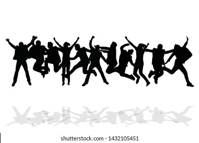 Group of happy people jumping on white background. Success celebration concept.