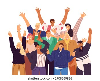 Group of happy people standing together, waving and inviting new customer, colleague. Concept of happy multiethnic team welcome newcomer. Vector illustration