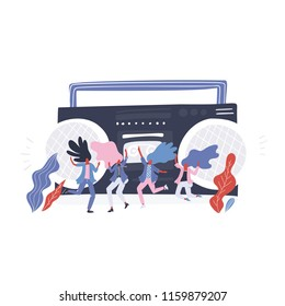 Group of happy small woman dancing with music player on the background. Vector illustration.