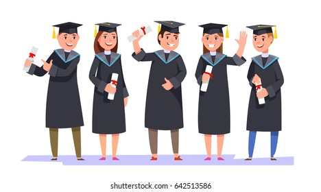 a4cf311e4bb Group happy smiling graduates in graduation gowns holding diplomas in their  hands isolated background. Vector