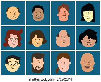 Group of happy and smiling people face from different culture, nation, and difference races. Layer can be easy to edited and changed color for your design.