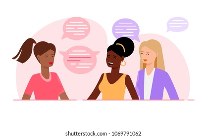 Group of happy smiling women of different race together talking. Women with different types of looks and hairstyles