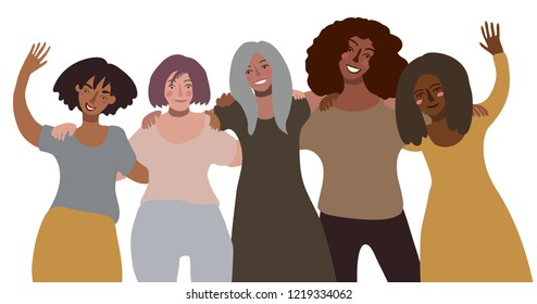 Group of happy smiling women of different race together hug. Minimal style illustration isolated on white. Feminism diversity race equality tolerance concept.