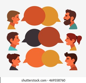 Group of happy smiling young people speaking together. Male and female faces avatars in modern design style. Communication, teamwork, assistance and connection vector concept