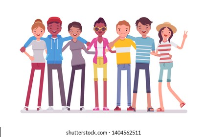 Group of happy teen friends. Young smiling people, teenager boys and girls standing together, adolescent unity. Vector flat style cartoon illustration isolated, white background, full length portrait