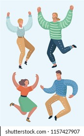 Group of happy young people - best friends on the party. Guys and girls are dancing and celebrate a victory. Vector cartoon illustration in modern concept