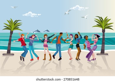 Group of happy young people dancing at the beach. Summer sunset. Vector Illustration.