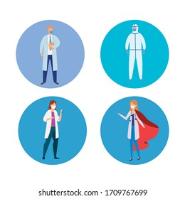 group of health professionals against covid 19 vector illustration design