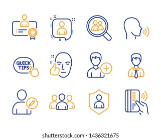 Group, Healthy face and Certificate icons simple set. Developers chat, Edit user and Security signs. Add person, Search employees and Businessman symbols. Line group icon. Colorful set. Vector