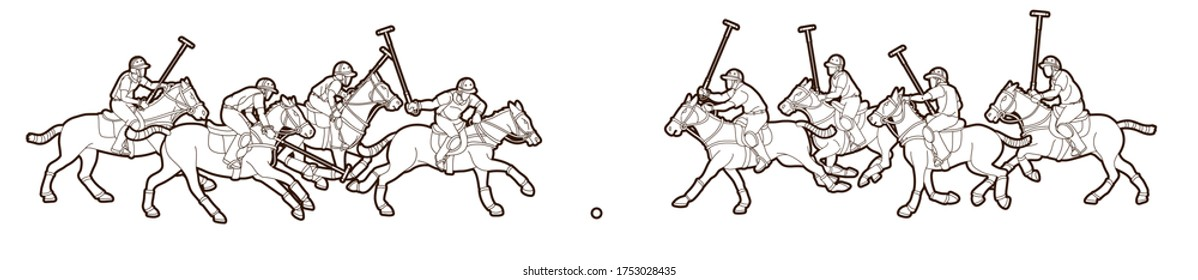 Group of Horses Polo players action sport cartoon graphic vector.