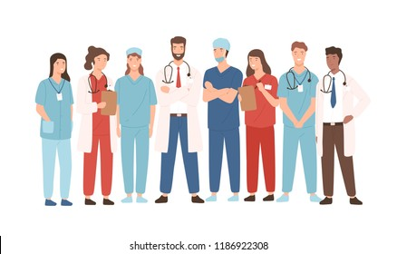 Group of hospital medical staff standing together. Male and female medicine workers - physicians, doctors, paramedics, nurses isolated on white background. Vector illustration in flat cartoon style.