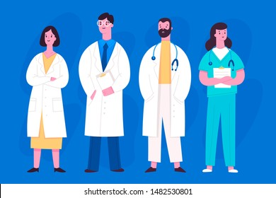 Group of hospital medical staff standing together. Various male and female medicine workers. Doctor, surgeon, physician, paramedic, nurse. Colored vector characters. Cartoon style. Flat design