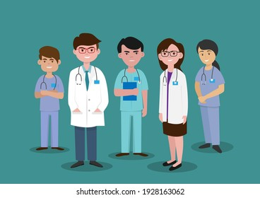 A group of hospital medical staff standing together Male and female medical staff.