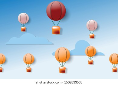 a group of hot air balloons, leadership concept. flying on sky.