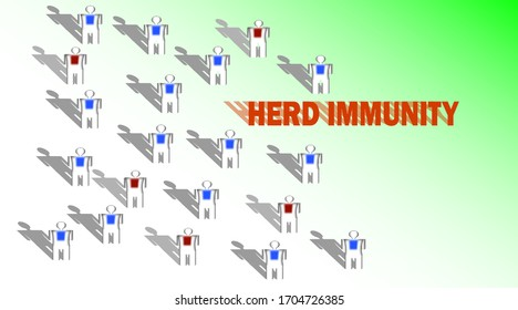 Group of human icon with color marking to demonstrate the idea of herd immunity,green background