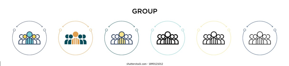 Group icon in filled, thin line, outline and stroke style. Vector illustration of two colored and black group vector icons designs can be used for mobile, ui, web