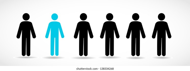 Group of icon people with one different person vector