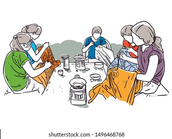 group of Indonesian women having batik painting together traditional life line art drawing and sketch