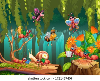 Group of insect in fairy nature illustration