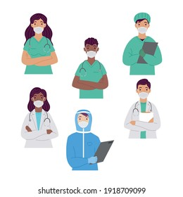 group of interracial doctors wearing medical masks characters vector illustration design