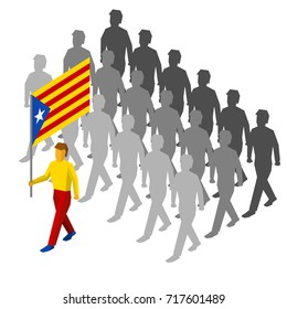 Group of Isometric people with flag of Catalonia (autonomous community of Spain). 3D standard bearer and crowd, isolated on white background. Catalonia patriots. Simple vector illustration.