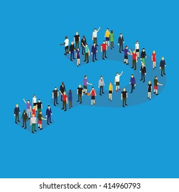Group of isometric people standing in question mark formation vector illustration. Public opinion concept.