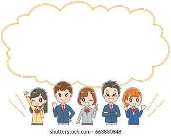 A group of Japanese high school students and speech bubbles