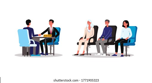 Group job interview with candidates and recruiter cartoon characters, flat vector illustration isolated on white background. Recruitment and career beginning concept.